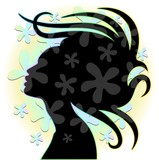 Hair Stylist Woman's Portrait with Flowers-Donna Coiffeur Logo - 45878225