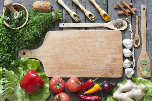 Vegetables and spices vintage border and empty cutting board - 45878237