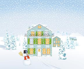 Häuser in Schneelandschaft