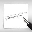 Teamarbeit Handschrift auf weißem Papier