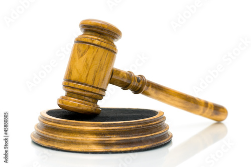 gavel close up on white background