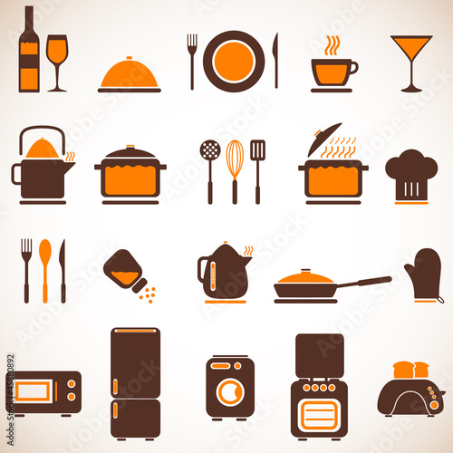 Vector kitchen icons set