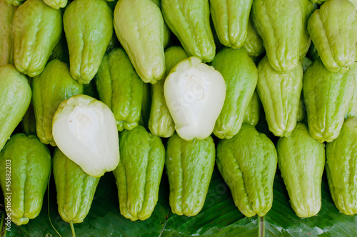 Fresh Chayote vegetables cut for detail