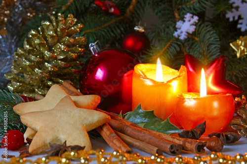 canvas print picture Christmas decoration with Christmas balls and candles