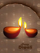 Happy diwali illuminating colorful diya stylish wave background