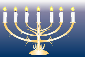 Menorah with seven lit candles It is described in the Bible