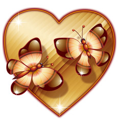 heart with two butterfly