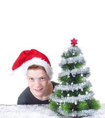 Junger Nikolaus mit Christbaum