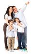 Happy family looking away