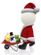 3D Santa pushing a wheelbarrow