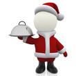 3D Santa serving Christmas dinner
