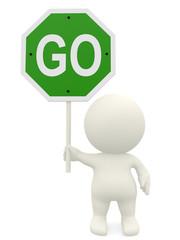 3D man holding a go sign