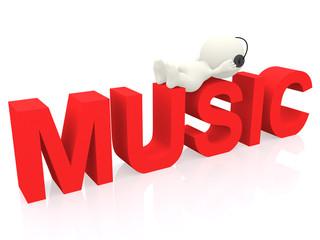 3D man listening to music