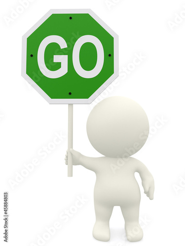 3D man holding a go sign