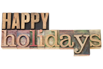 happy holidays in wood type