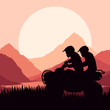 All terrain vehicle quad motorbike riders vector