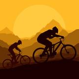 Mountain bike riders in wild mountain nature vector