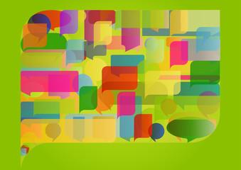 Colorful speech bubble illustration concept background