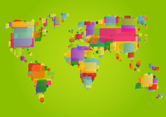 World map made of colorful speech bubbles concept illustration b