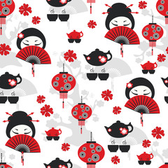East tea time seamless pattern