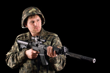 Arming soldier and a rifle