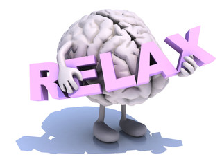 human brain that embraces word relax