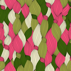 seamless pattern from color hair, lines and knots