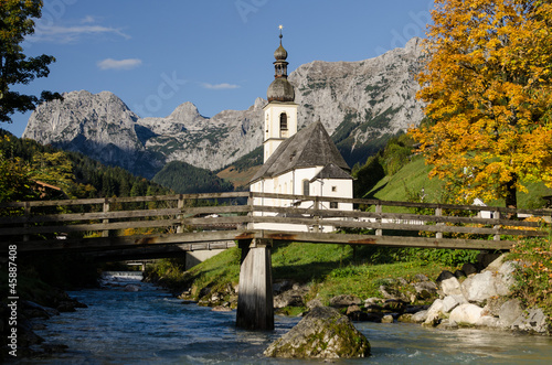 canvas print picture Kirche in Ramsau