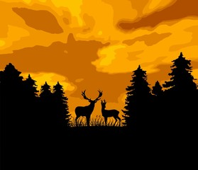 wild animal (deers) in the forest - huntsman theme
