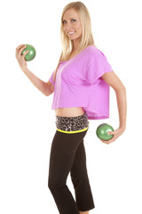fitnes lift green balls woman pink