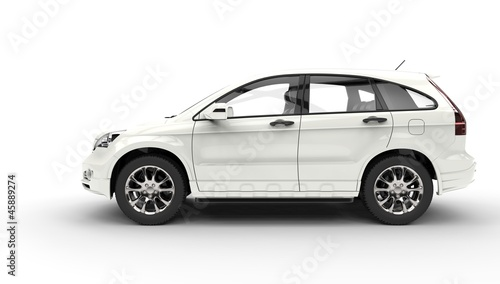White SUV 4X4 Side View