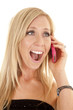 woman laugh pink phone