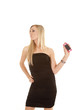 woman text hold back black dress