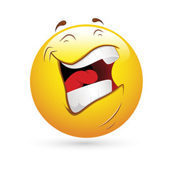 Smiley Emoticons Face Vector - Laughing