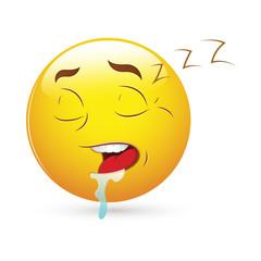 Smiley Emoticons Face Vector - Sleeping Expression
