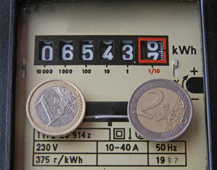 electricity meter with two coins of one and two euros