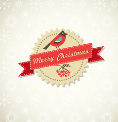 Christmas vintage background with bird, sticker and ribbon
