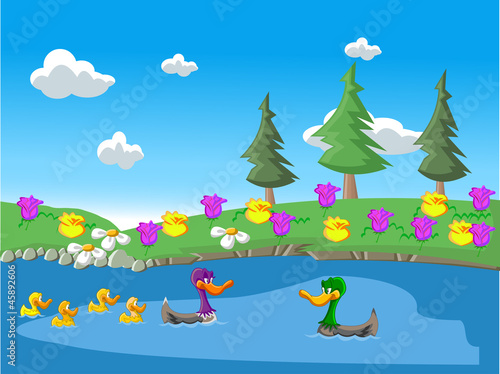 Nature landscape with ducks in the lake