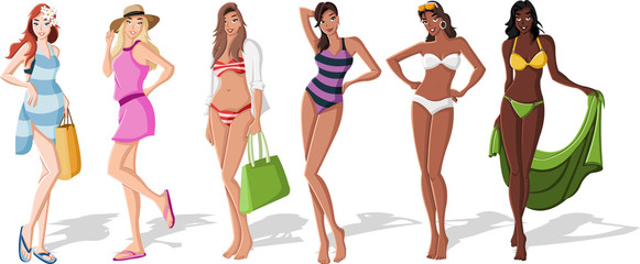 Beautiful cartoon girls wearing bikini