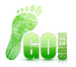 go green footprint sign illustration design