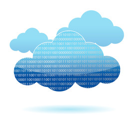 binary cloud computing concept illustration