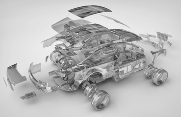 exploded transparent car