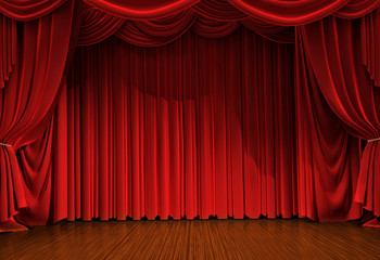 stage with open velvet curtain