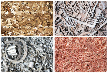 Set of metal scrap materials recycling backround