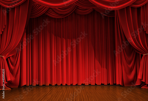 stage with open velvet curtain - 45895635