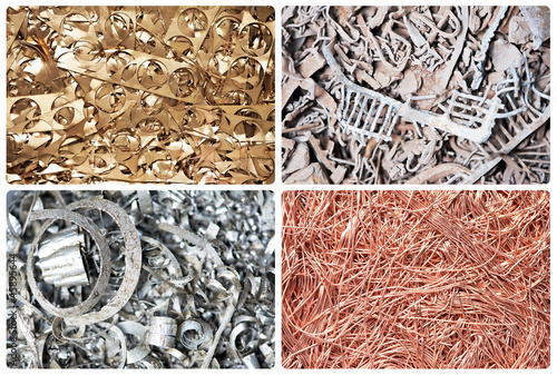 Set of metal scrap materials recycling backround - 45895644