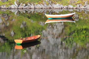 Mirroring in the lake  of Å in Lofoten