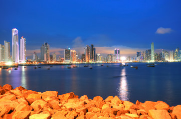Panama City, city center skyline and Bay of Panama, Panama, Cent