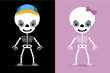 set of two kids skeletons, halloween