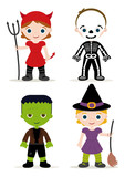 halloween kids costume, devil, skeleton, franky and witch